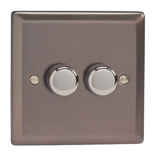 Varilight JRP252 Classic Pewter 2 Gang 2-Way Push-On/Off LED Dimmer 0-120W V-Pro